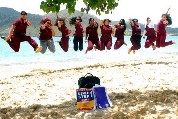 Caribbean Medical School Students on the beach